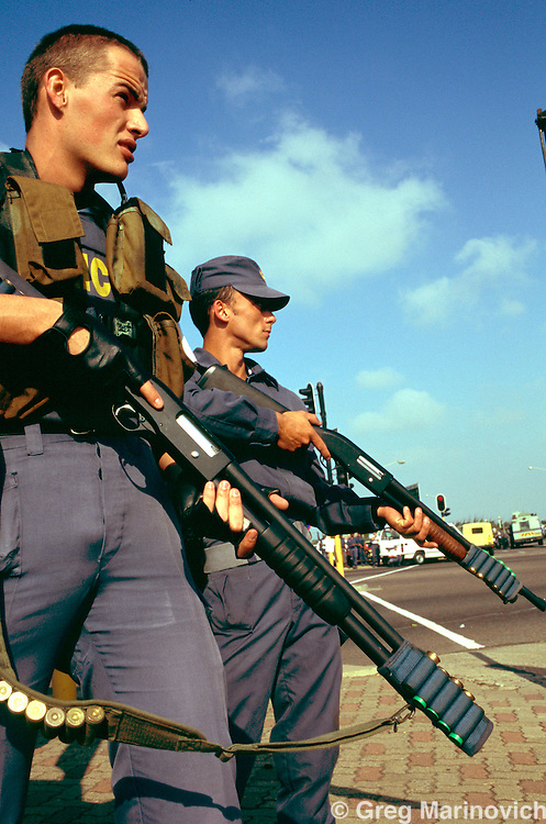 Riot police on the ready during a tense Inkatha rallyin KwaZulu Natal 1995-04-27, South Africa.