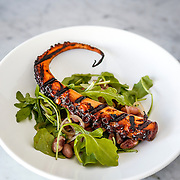 Grilled octopus with arugula, Appaloosa Beans, pickled pearl onion and pesto.