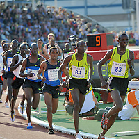 Kenenisa Bekele runs the 5.000 meters during the  FBK games 2008 in Hengelo.