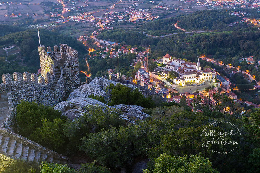 Moorish Castle (Castelo dos Morros) & National Palace of Sintra below, Sintra, Portugal