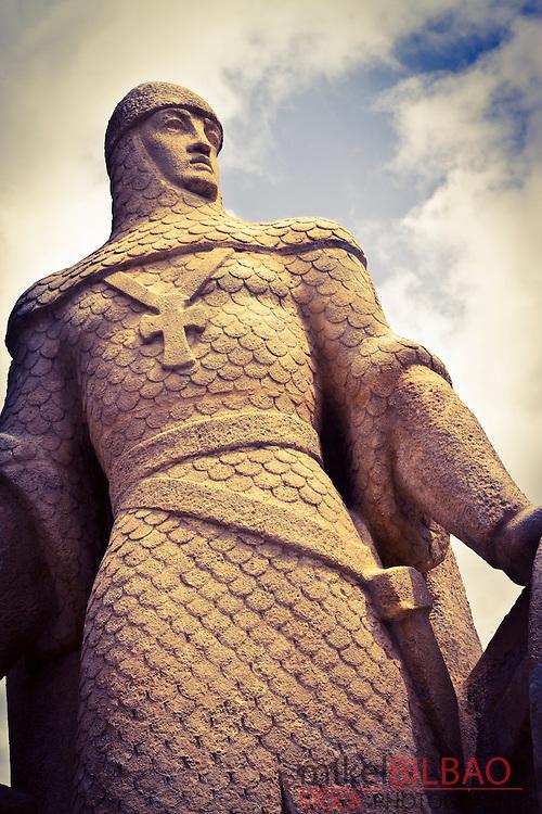 Crusader statue.<br /> Burgos city. Castile and Leon, Spain.