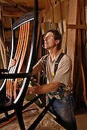 Bob Erickson at the woodworking shop near Nevada City, CA where he makes custom chairs.