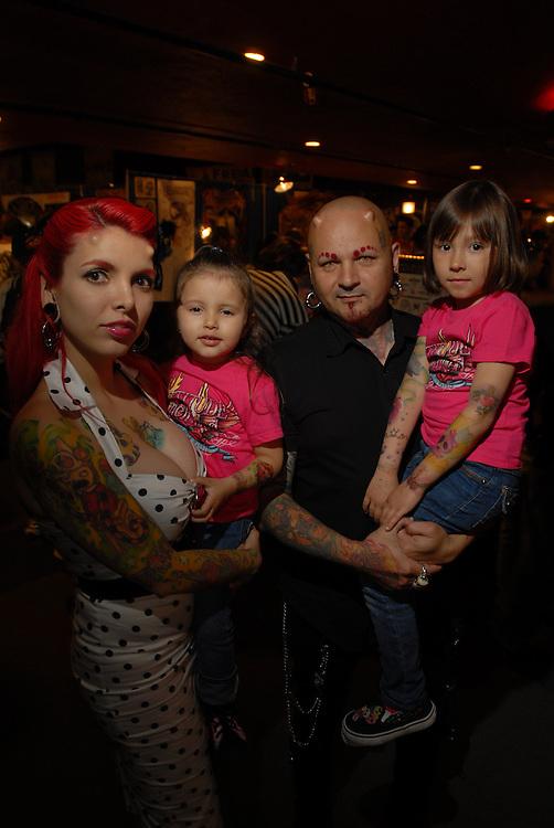 New York City Tattoo Convention 2009 at the Roseland Ballroom: Tony Diabalo and K-Ta Buathier with Emily and Melanie.
