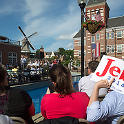 PELLA, IA - JUNE 17: Supporters listen as Gov. Jeb Bush  speaks during a town hall meeting Wednesday, June 17, 2015, in Molengracht Plaza in Pella, Iowa. (Scott Morgan/for The New York Times)
