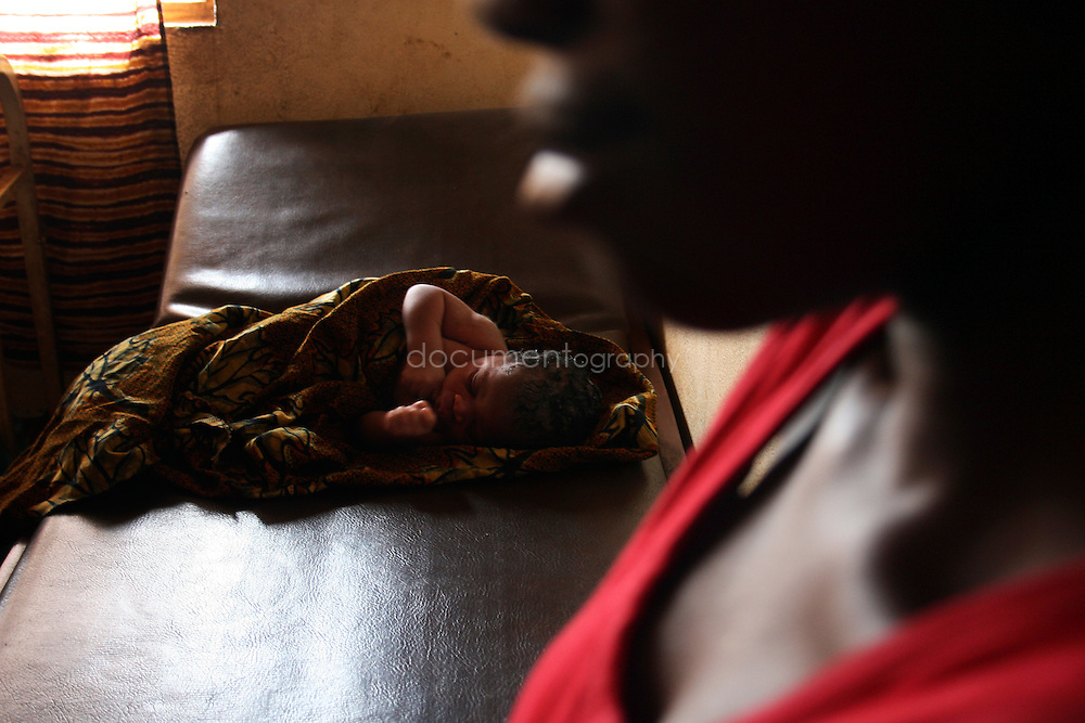 A new born baby at the clinic, Kroo Bay, Freetown, Sierra Leone.