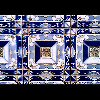 Mexican tiles on a wall, wall decoration, typical for old Mexican buildings