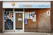 Boarded up 'Arpers the Frame Centre, Parsonage Street, Dursley.Recession 2010: Parsonage Street, Dursley, Gloucestershire shops closed due to economic downturn.