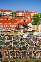 Fisherman's pots stacked on Whitby harbour
