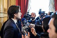 27 Febbraio 2015, Reggio Calabria, Italia. Giuseppe Falcomatà, 31 anni, Sindaco di Reggio Calabria incontra i giornalisti nel corso della conferenza stampa organizzata in occasione dei primi novanta giorni di lavoro dal suo insediamento.