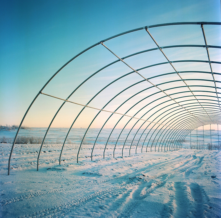 A new green house under construction at Meyers Farm in Bethel, Alaska. 2011