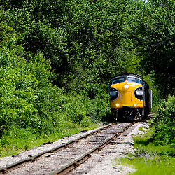 Rocking gently down the worn rail, a pair of vintage EMD F units exit a tree tunnel created by lush summertime vegetation in the Illinois River valley.