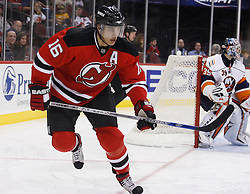 November 16, 2007; Newark, NJ, USA;  New Jersey Devils center Dainius Zubrus (16) skates for the puck during the second period against the New York Islanders at the Prudential Center in Newark, NJ.