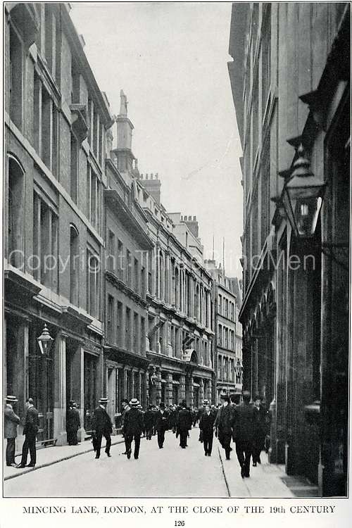 Mincing Lane, London, at the close of the 19th century.<br /> Scanned from All About Tea by William H. Ukers. 1935. The Tea &amp; Coffee Trade Journal Company. New York. 1935