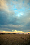 Low winter clouds move over the desolate prairie landscape in Northern Illinois.