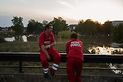 Emergency response personnel rest at the Hotel Obrenovac during the rescue operations in the flooded Serbian town.<br /> <br /> Matt Lutton / Boreal Collective<br /> <br /> Flooding in Serbia
