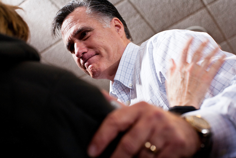 Republican presidential candidate Mitt Romney holds a campaign rally at the Mississippi Valley Fairgrounds on Monday, January 2, 2012 in Davenport, IA.