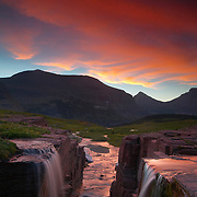 Two small creeks actually combine near the Continental Divide above Logan Pass in Glacier National Park, Montana.