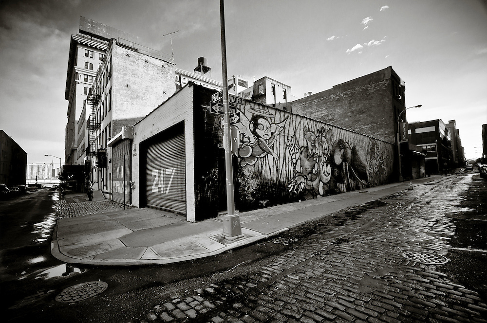 The corner of Pearl Street and Water street, DUMBO, Brooklyn, New York.