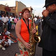 Musical summer street scene Beale Street, Memphis Tennessee.