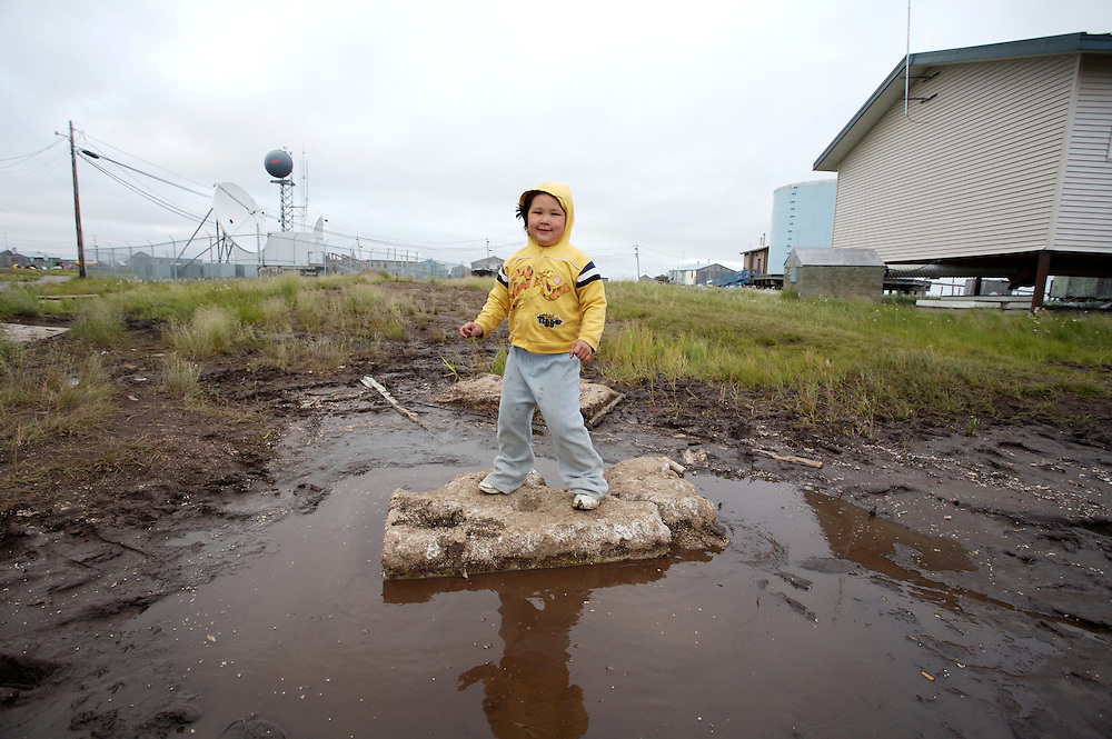 Child playing in Newtok, Alaska. 2008