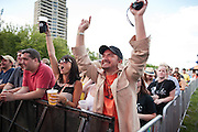 Fans enjoy Red Wanting Blue at Bunbury Music Festival at Yeatman's Cove in Cincinnati, Ohio on July 12, 2013.