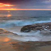 Sun Through The Clouds At High Tide - La Jolla Shoreline - Sunset