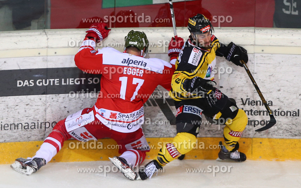 02.12.2016, Albert Schultz Halle, Wien, AUT, EBEL, UPC Vienna Capitals vs HCB Suedtirol Alperia, 25. Runde, im Bild Alexander Egger (HCB Suedtirol Alperia) und David Rotter (UPC Vienna Capitals) // during the Erste Bank Icehockey League 25th Round match between UPC Vienna Capitals and HCB Suedtirol Alperia at the Albert Schultz Ice Arena, Vienna, Austria on 2016/12/02. EXPA Pictures © 2016, PhotoCredit: EXPA/ Thomas Haumer