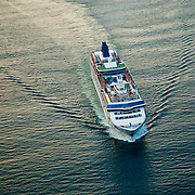 Aerial view of NCL Cruise Ship leaving Bar Harbor Maine at Sunset. Aerial view of Nautical Vessel Aerial view of Nautical Vessel