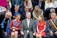 3-7-2016 TONGEREN BELGIUM - On Sunday, July 3rd, 2016 live Their Majesties the King Philippe and Queen Mathilde, along with Princess Elisabeth Ommegang Coronation Procession in Tongeren. This in the context of the 18th edition of the crowning Events. The seven annual Coronation Celebrations are traditionnel in honor of Our Lady of Tongeren - Cause of Our Joy organized. Coronation Celebrations last for 4 days where the coronation procession is the highlight. Copyright ROBIN UTRECHT<br /> 3-7-2016 TONGEREN BELGIE - Op zondag 3 juli 2016 wonen Hunne Majesteiten de Koning Filip en de Koningin Mathilde samen met prinses Elisabeth de Ommegang van de Kroningsprocessie bij in Tongeren. Dit in het kader van de 18de editie van de Kroningsfeesten. De zevenjaarlijkse Kroningsfeesten worden traditionnel ter ere van Onze-Lieve-Vrouw van Tongeren - Oorzaak Onzer Blijdschap georganiseerd. De Kroningsfeesten duren 4 dagen waarvan de Kroningsprocessie het hoogtepunt vormt. cOPYRIGHT ROBIN UTRECHT