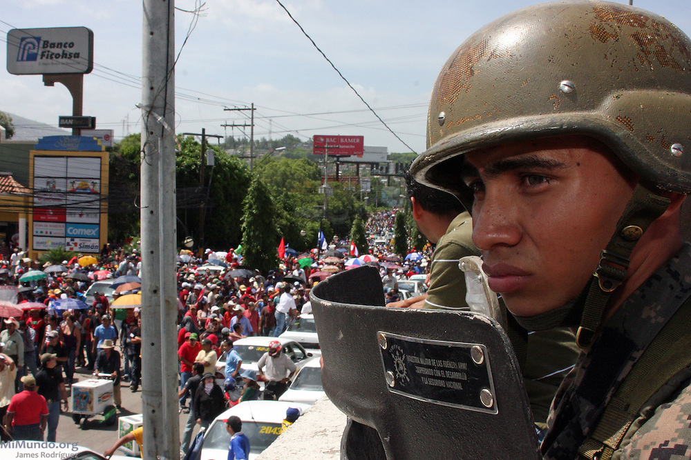 "Tegucigalpa, Honduras. July 4th, 2009. Thousands of people arrive to Toncontin Airport as a sign of protest to the Coup d'Etat that forcibly removed President Manuel ""Mel"" Zelaya on June 28th, 2009."