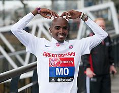 APR 08 2014 Mo Farah gets ready for the London Marathon