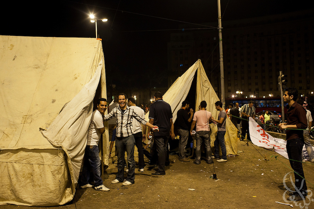 Egyptian activists set up tents July 7, 2011,  the eve of a large planned protest in Tahrir Square in downtown Cairo, Egypt. Many of the protesters have vowed to stay in the square until the demands of the revolution are met, including an end to military trials of civilians, prosecution of police officers accused of murder or torture and open trials of former regime officials including ex-President Hosni Mubarak. (Photo by Scott Nelson/Der Spiegel)