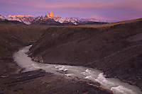 Mount Fitz Roy glows in the Patagonian morning light just outside the town of El Chalten, Argentina.