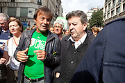 Climate March, Paris, (L) Nicolas Hulot, Nicolas Hulot, officier de la Légion d'honneur, chevalier des Arts et Lettres, the founder and president of the Fondation Nicolas-Hulot, an environmental group first created in 1990, (R ) Jean-Luc Mélenchon,  is a French politician