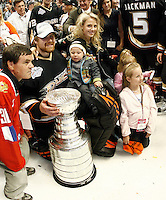 6 June 2007: Goaltender Ilya Bryzgalov with his family and the trophy after game 5 of the NHL Stanley Cup playoff championship game where the Anaheim Ducks defeated the Ottawa Senators 6-2 in regulation at the Honda Center in Anaheim, CA.