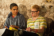 12/03/2012. London, UK. Southwark Playhouse presents the world premier of Philip Ridley's Shivered, directed by Russell Bolam. Picture shows Josh Williams as Jack and Joseph Drake as Ryan. Photo credit : Tony Nandi