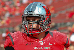 Sept 8, 2012; Piscataway, NJ, USA; Rutgers Scarlet Knights defensive tackle Scott Vallone (94) during the pre-game at High Point Solutions Stadium.