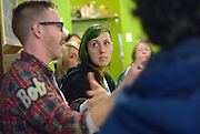 "Michelle Soulliere, Cultural Animator, Arts Council Windsor and Region, listens during the ""Artist and Workers: Commnity Discussion""  event at Windsor Workers' Education Centre during MayWorks Windsor 2014."
