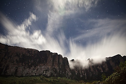 Roraima base camp at the foot of the Tepui, a vision of the Cueva de los Guacharos at night.