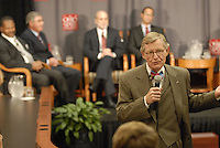 Ohio State President E. Gordon Gee introduces the 'Conversation on the Economy,' a forum held at Pfahl Hall in the Fisher College of Business at Ohio State on Nov. 30, 2010..