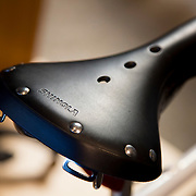 DETROIT, MI - OCTOBER, 30: A leather bicycle seat on display at the Shinola store in Detroit, Michigan, Thursday, October 30, 2014. (Photo by Jeffrey Sauger)