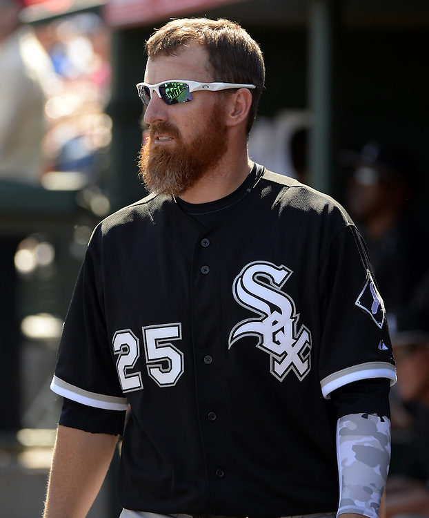 TEMPE, AZ - MARCH 14:  Adam LaRoche #25 of the Chicago White Sox looks on during the spring training game between the Chicago White Sox and Los Angeles Angels on March 14, 2015 at Tempe Diablo Stadium in Tempe, Arizona. (Photo by Ron Vesely)   Subject:  Adam LaRoche