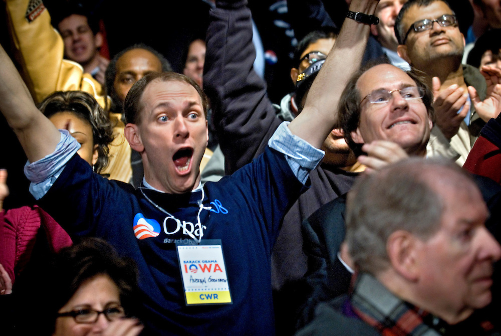Barack Obama Supporters celebrating after Obama won the Iowa Caucuses. .Photographer Chris Maluszynski /MOMENT
