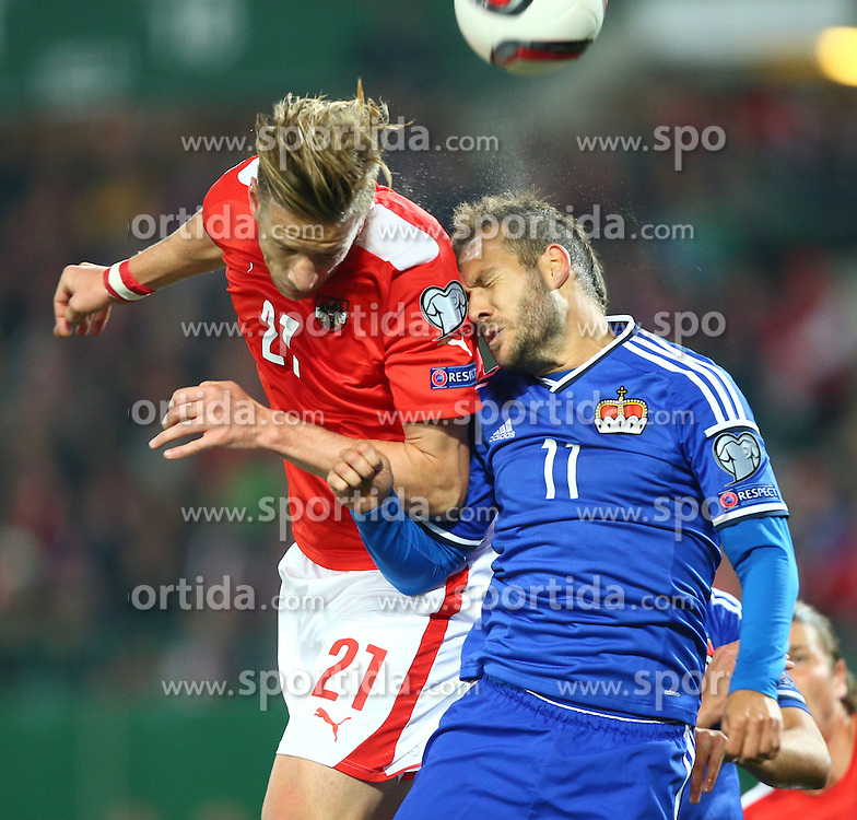 12.10.2015, Ernst Happel Stadion, Wien, AUT, UEFA Euro 2016 Qualifikation, Oesterreich vs Liechtenstein, Gruppe G, im Bild Marc Janko (AUT) und Franz Burgmeier (LIE) // during the UEFA EURO 2016 qualifier group G between Austria and Liechtenstein at the Ernst Happel Stadion, Vienna, Austria on 2015/10/12. EXPA Pictures © 2015, PhotoCredit: EXPA/ Thomas Haumer