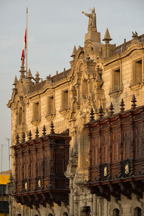 South America, Peru, Lima,The Plaza Mayor or Plaza de Armas of Lima