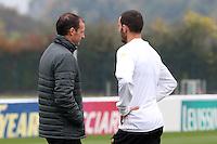 Vinovo 21.02.2017 - Allenamento di vigilia di Porto-Juventus - Champions League 2016-17 - Nella foto:  Massimiliano Allegri e Leonardo Bonucci