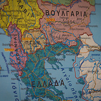 A map of the south-eastern Europe. Didymothico, Evros, Greece.