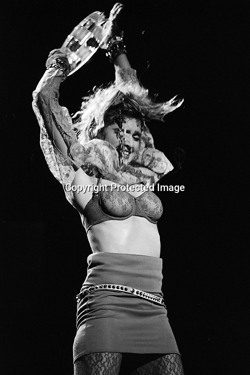 """Madonna performs on """"The Virgin Tour""""  at Radio City Music Hall in New York City, June 6, 1985.  Photo by Frank Micelotta/ImageDirect."""