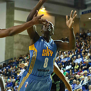 Chicago Sky Center CLARISSA DOS SANTOS (8) drives to the basket in the fourth period of a WNBA preseason basketball game between the Chicago Sky and the New York Liberty Sunday, May. 01, 2016 at The Bob Carpenter Sports Convocation Center in Newark, DEL