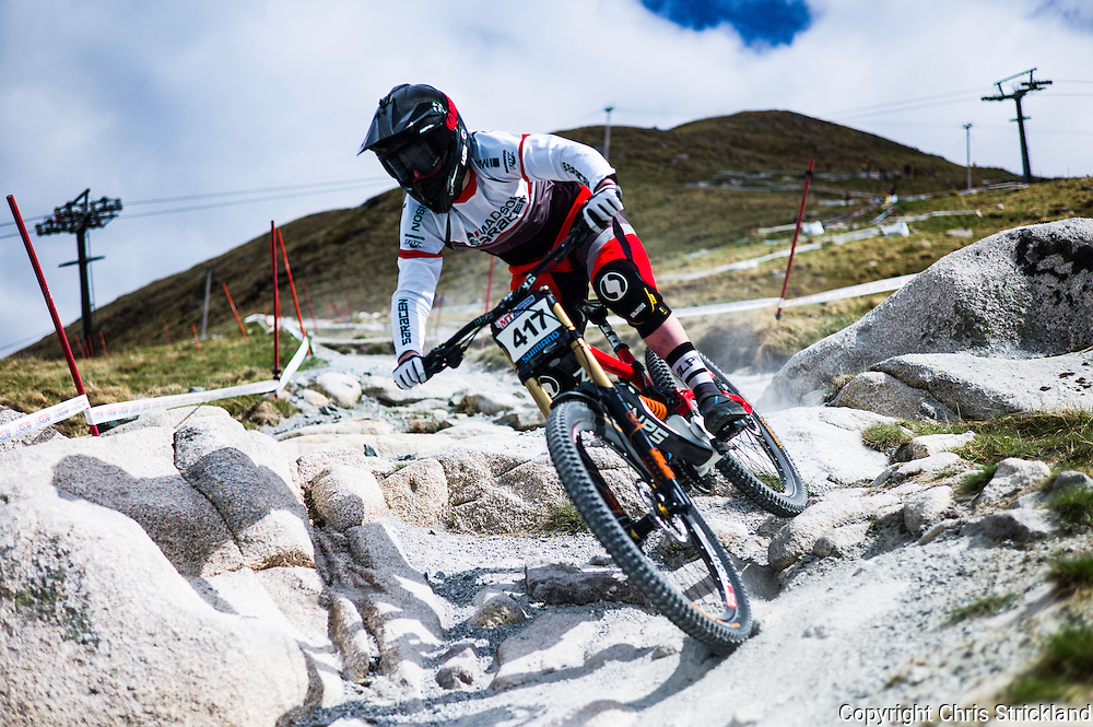 Nevis Range, Fort William, Scottish Highlands, UK. 15th May 2016. Matthew Walker competes in the British Downhill Series on Nevis Range in the Scottish Highlands.